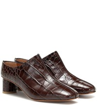 Loq Eva Croc Effect Mules Brown