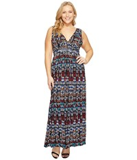 Tart Plus Size Chloe Maxi Dress Ikat Geometric Print Women's Dress Gray