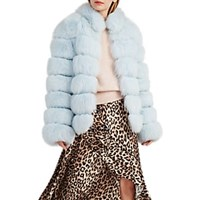 Lilly E Violetta Fox Fur Coat Lt. Blue