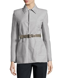 Philosophy Di Alberta Ferretti Exposed Seam Belted Jacket Gray