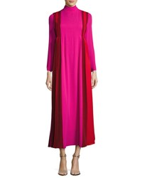 Valentino Mock Neck Pleated Colorblock Silk Gown Pink