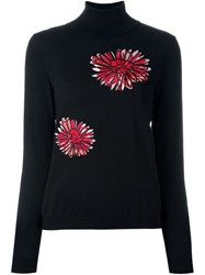 Boutique Moschino Floral Embroidered Roll Neck Jumper Black