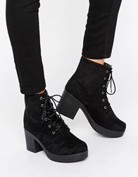 Truffle Collection Chunky Heeled Lace Up Boots Black Micro