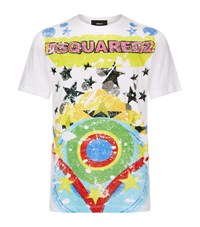 Dsquared2 Rainbow Logo T Shirt Male White