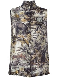 N 21 N.21 Sleeveless Jungle Print Shirt Black