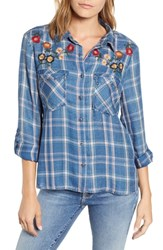 Billy T Embroidered Plaid Roll Tab Shirt Regal W Embroidery