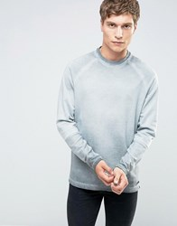 Only And Sons Crew Neck Sweat With Cut Sew Raglan Sleeve In Oil Wash Griffin Grey