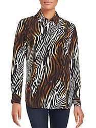 Equipment Reese Animal Print Silk Blouse Mars Bronze