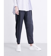 Limi Feu Split Side Tapered Wool Blend Trousers Grey