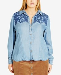 City Chic Trendy Plus Size Embroidered Western Shirt Light Denim