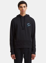 Saint Laurent Metallic Logo Print Hooded Sweater Black