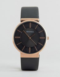 Sekonda Grey Leather Watch With Rose Gold Dial Exclusive To Asos Grey
