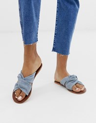 Warehouse Suede Knotted Sandal In Blue