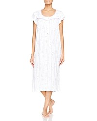 Eileen West Floral Cap Sleeve Waltz Nightgown White Ground Lilac Floral