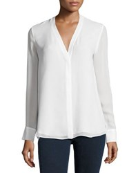 Vince Silk Double Layer V Neck Blouse Off White