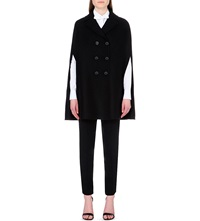 Valentino Double Faced Wool Blend Cape Blk