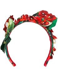 Dolce And Gabbana Embellished Floral Hair Band Red