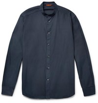 Barena Grandad Collar Cotton Poplin Shirt Navy