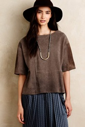 Burning Torch Seamed Suede Tee Taupe