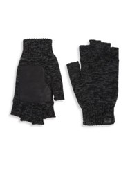 Bickley Mitchell Leather Patch Fingerless Gloves Black