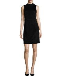 Theory Eulia Dr Tidle Paneled Suede Cocktail Dress Black