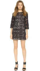 4.Collective Geometric Lace Shift Dress Black