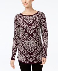 Charter Club Jacquard Sweater Created For Macy's Damask Plum Combo