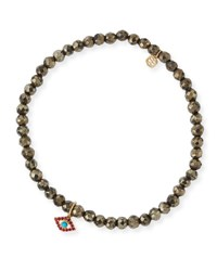 Sydney Evan Champagne Pyrite Beaded Bracelet With Ruby And Turquoise Evil Eye Charm Gold