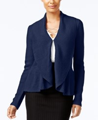 Cable And Gauge Ruffled Shawl Collar Cardigan Evening Blue