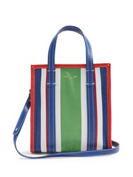 Balenciaga Bazar Mini Grained Leather Tote Green Stripe