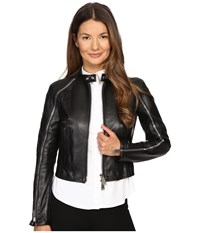 Dsquared Lamb Leather Lone Star Leather Jacket Black