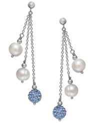 Honora Style Cultured Freshwater Pearl 7Mm And Blue Crystal Drop Earrings In Sterling Silver