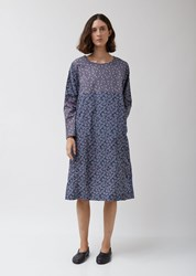 Casey Casey Pyj Rouch Dress In Floral Print Navy