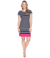 Hatley Tee Shirt Dress Navy Stripe Color Block Women's Dress Black