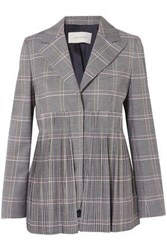 Cedric Charlier Pleated Checked Wool Blend Blazer Gray