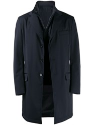 Fay Classic Coat With Padded Inner Blue