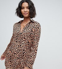 South Beach Exclusive Oversized Shirt In Leopard Print Multi