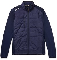 Rlx Ralph Lauren Slim Fit Quilted Shell Panelled Terry Golf Jacket Blue