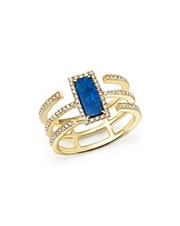 Meira T 14K Yellow Gold Triple Band Opal And Diamond Ring Blue White