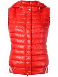 Herno Hooded Gilet Red