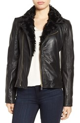 Badgley Mischka Women's 'Irina' Leather Moto Jacket With Genuine Shearling Collar Black