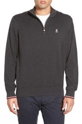 Psycho Bunny Pima Cotton Quarter Zip Sweater Gray