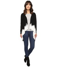 Christin Michaels Diem Two Tone Ribbed Cardigan Black Ivory Women's Sweater
