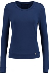 Karl Lagerfeld Levi Stretch Cotton Blend Top Blue