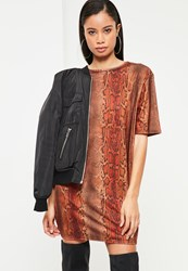 Missguided Orange Snake Print T Shirt Dress