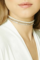 Forever 21 Faux Pearl Choker Set Gold Cream
