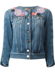 Christopher Kane Floral Broderie Denim Jacket Blue