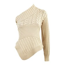 Burberry Runway Cable Knit One Shoulder Jumper Female White
