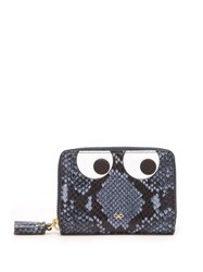 Anya Hindmarch Eyes Python Effect Leather Wallet Blue Multi