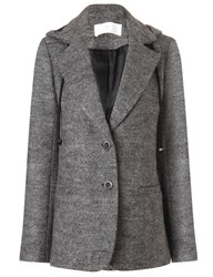 Thakoon Grey Melange Wool Hooded Blazer